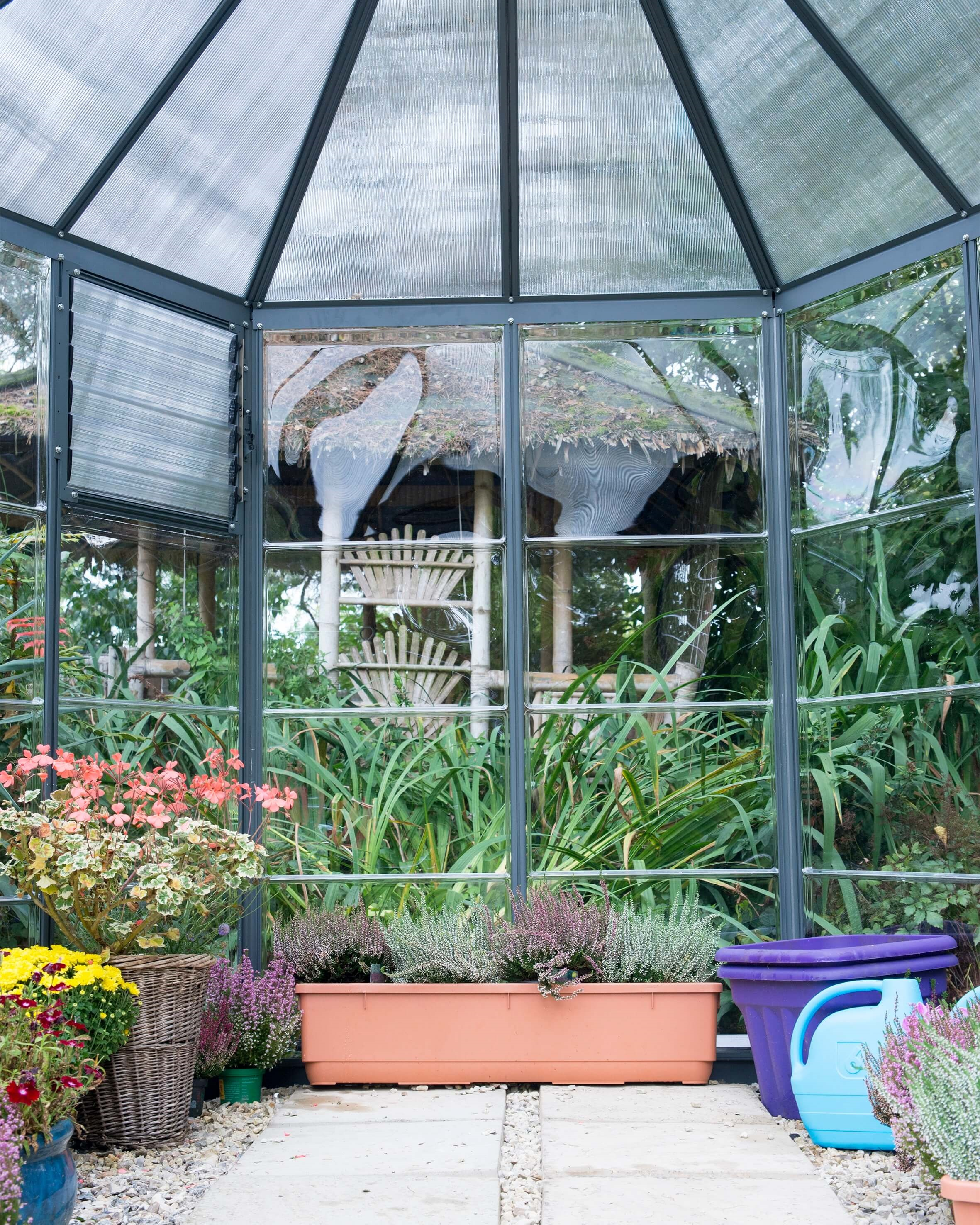Interior View of Hexagonal greenhouse