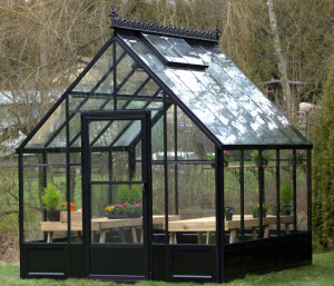 Acadian Greenhouse with Black Frame and Aluminum Knee Wall