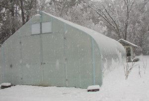 Advance Greenhouses in the snow