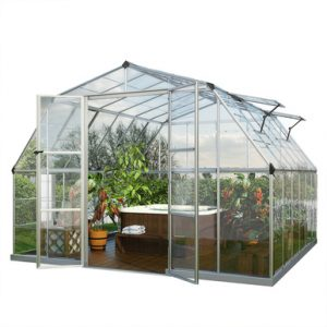 This greenhouse has a twinwall polycarbonate roof and a single clear polycarbonate sidewall.