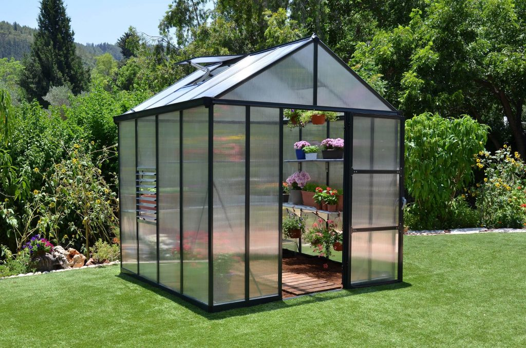 10mm polycarbonate greenhouse door open
